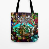 majoras mask Tote Bags featuring Majoras mask by Rowena White