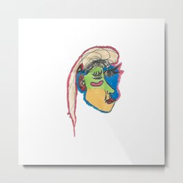 funky Picasso inspired profile Metal Print
