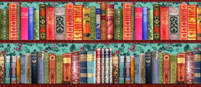 Vintage Books Christmas Bookshelf Holly Wallpaper Holidays Bookworm Bibliophile