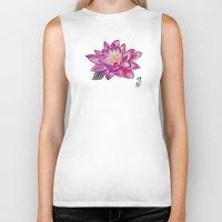 lotus flower Biker Tanks featuring Lotus by Art by Risa Oram