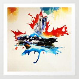 Vintage Canada Maple Leaf Travel Love Watercolor Art Print
