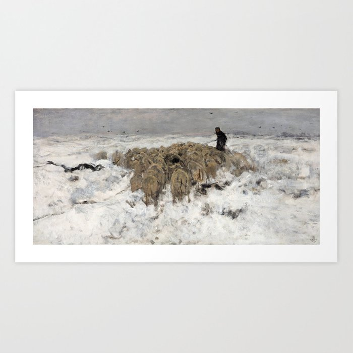 Flock of sheep with shepherd in the snow by Anton Mauve Art Print by  fineearthprints