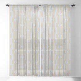 Geometric Bamboo Stripes - Abstract Pastel Minimalist Sheer Curtain