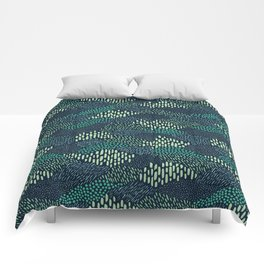 Dashes and dots in blue-green // abstract pattern Comforters