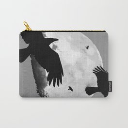 A Murder Of Crows Flying Across The Moon Carry-All Pouch