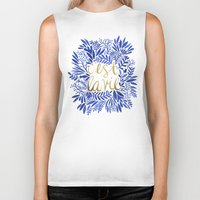 french Biker Tanks featuring That's Life – Gold & Blue by Cat Coquillette