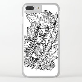 Praying Mantis in Ink Clear iPhone Case