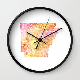 Typographic Arkansas - Orange Watercolor map Wall Clock