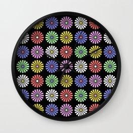 Pastel Flowers Pattern (On Black) Wall Clock