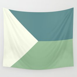 Green Blue Cream Abstract Geometric Art Wall Tapestry