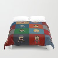 heroes Duvet Covers featuring Screaming Heroes by That Design Bastard