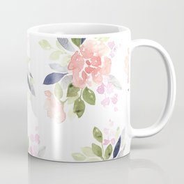 Peach & Nvy Watercolor Flowers Coffee Mug
