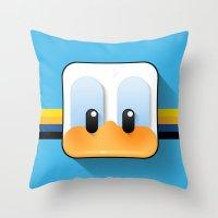 donald duck Throw Pillows featuring donald duck by designoMatt