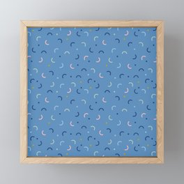 Memphis Style Blue Confetti Framed Mini Art Print