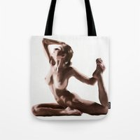 yoga Tote Bags featuring Yoga by Liam Golden