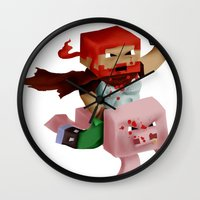 gore Wall Clocks featuring Hoojo of Minecraftia - Gore Edition by Angry Adventure