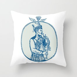 Scotsman Bagpiper Playing Bagpipes Etching Throw Pillow