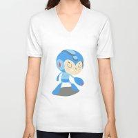 mega man V-neck T-shirts featuring Mega Man by Rod Perich