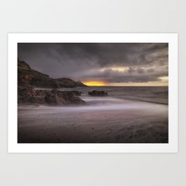 Stormy sunrise at Bracelet Bay Art Print