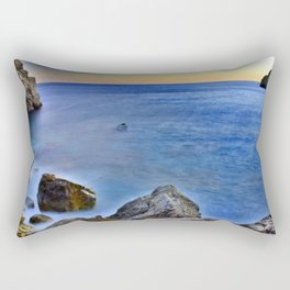 Beach at sunset with a rocks on the s Rectangular Pillow