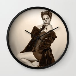 """Show a Little Shoulder"" - The Playful Pinup - Vintage Pin-up Girl in Coat by Maxwell H. Johnson Wall Clock"