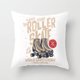 The Classic 1980 Roller Skate Throw Pillow
