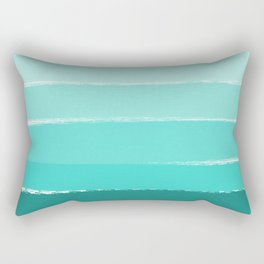 Ombre brushstrokes modern minimal ocean abstract painting wall art Rectangular Pillow