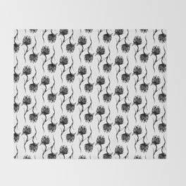Flower in Black Throw Blanket