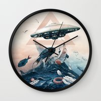 ufo Wall Clocks featuring UFO by Tanya_tk