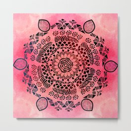 Pink Galaxy Mandala Metal Print