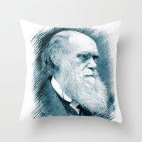 darwin Throw Pillows featuring Charles Darwin by Zandonai