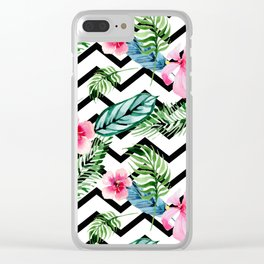 Watercolor Floral Pattern Clear iPhone Case