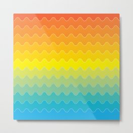 Colorful Abstract Waves Metal Print