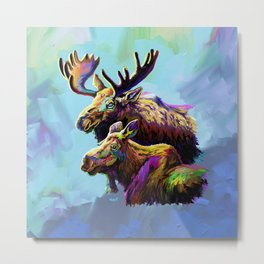 Colorful Moose Metal Print