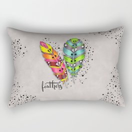 Two bright tribal feathers Rectangular Pillow