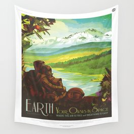 Earth Retro Space Poster Wall Tapestry