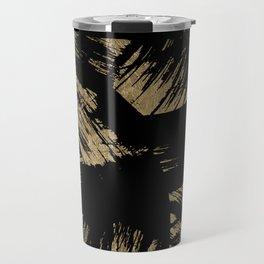 Elegant black faux gold modern brushstrokes pattern Travel Mug