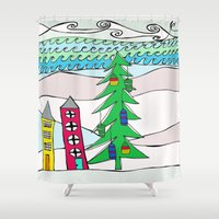 holiday Shower Curtains featuring Holiday by Zaz & Moe/Susan Delsandro Hellier