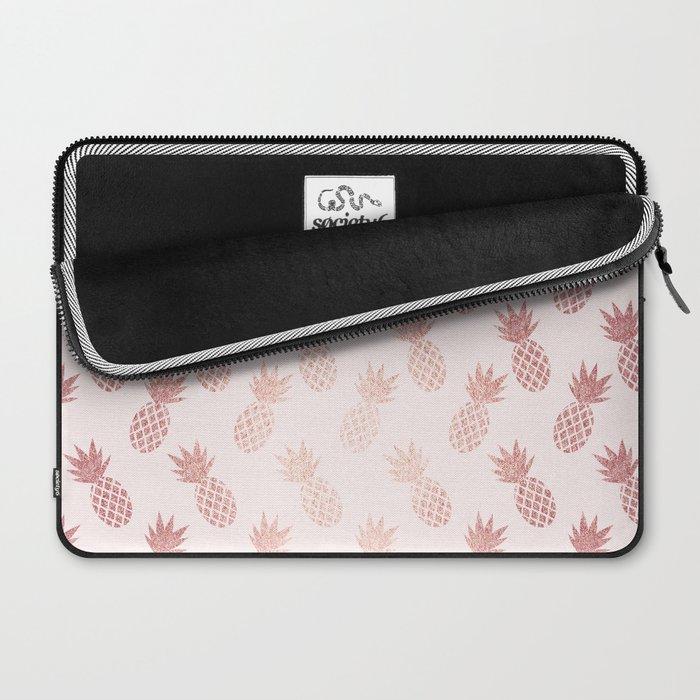 Rose Gold Pineapple Pattern Laptop Sleeve