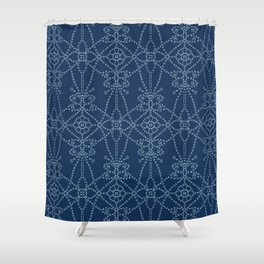 Flower butterfly motif sashiko style. Shower Curtain
