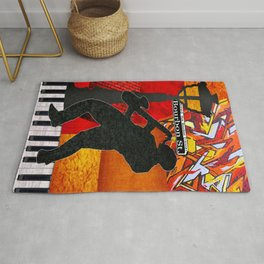 Bourbon St. Jazz Saxophone Player Rug