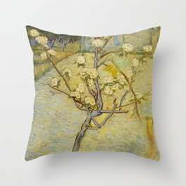 Small pear tree in blossom by Vincent Van Gogh Throw Pillow