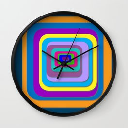 Colorful Layered Squares, Psychadelic Artwork, Pretty Colorful Art Wall Clock