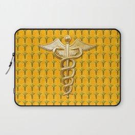 Gold Medical Caduceus Laptop Sleeve