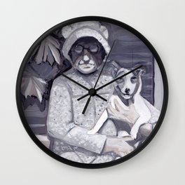An Old Lady and Her Little Dog in Gouache Wall Clock