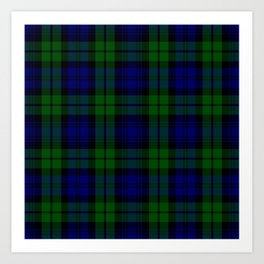 Scottish Campbell Tartan Pattern-Black Watch #1 Art Print