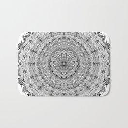 Mandala Project 626   Black and White Lace Mandala Bath Mat