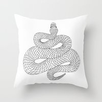 snake Throw Pillows featuring Snake by Syrupea