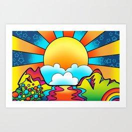 sunset - peter max inspired Art Print
