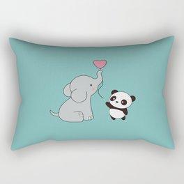 Kawaii Cute Elephant and Panda Rectangular Pillow